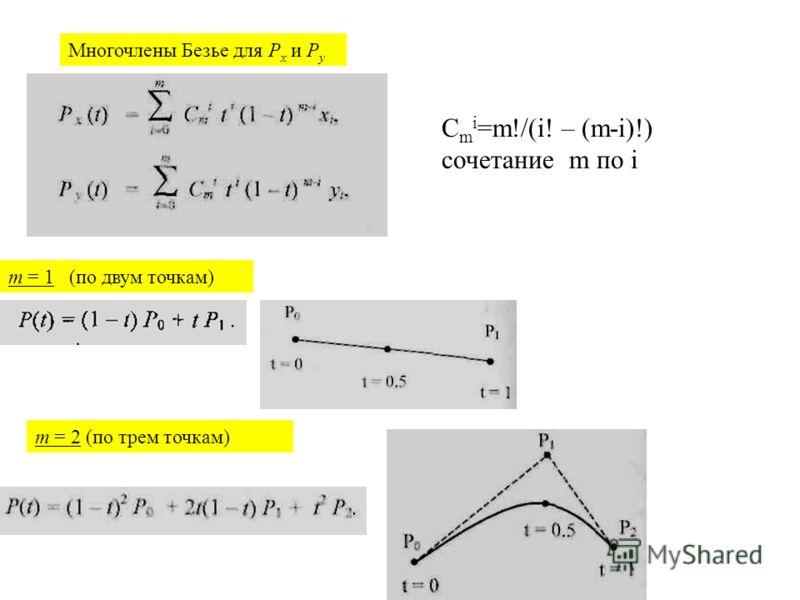 Многочлены Безье для Р х и Р у m = 1 (по двум точкам) m = 2 (по трем точкам) C m i =m!/(i! – (m-i)!) сочетание m по i