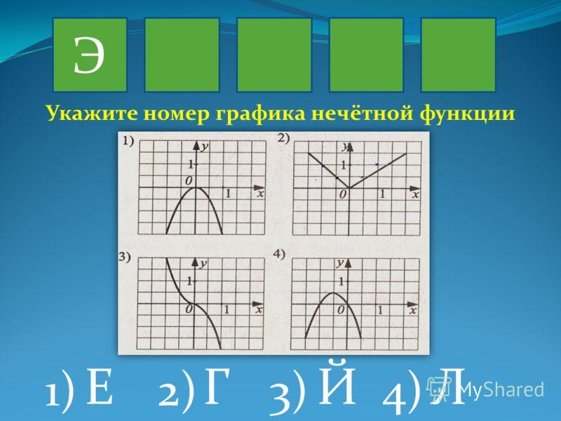 Э 1)2)3)4) Укажите номер графика нечётной функции ЙЕГЛ