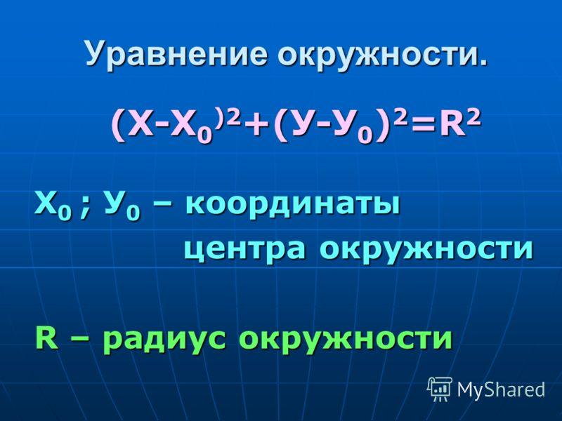 Уравнение окружности. (Х-Х0)2+(У-У0)2=R2 Х0 ; У0 – координаты центра окружности R – радиус окружности