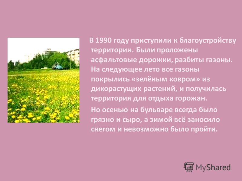В 1990 году приступили к благоустройству территории. Были проложены асфальтовые дорожки, разбиты газоны. На следующее лето все газоны покрылись «зелёным ковром» из дикорастущих растений, и получилась территория для отдыха горожан. Но осенью на бульва