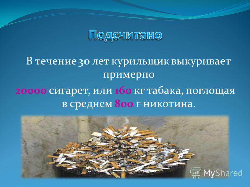 В течение 30 лет курильщик выкуривает примерно 20000 сигарет, или 160 кг табака, поглощая в среднем 800 г никотина.