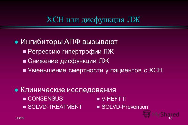 08/9913 ХСН или дисфункция ЛЖ l Ингибиторы АПФ вызывают n Регрессию гипертрофии ЛЖ n Снижение дисфункции ЛЖ n Уменьшение смертности у пациентов с ХСН l Клинические исследования n CONSENSUS n SOLVD-TREATMENT n V-HEFT II n SOLVD-Prevention