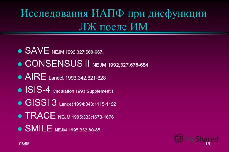 08/9916 Исследования ИАПФ при дисфункции ЛЖ после ИМ l SAVE NEJM 1992:327:669-667. l CONSENSUS II NEJM 1992;327:678-684 l AIRE Lancet 1993;342:821-828 l ISIS-4 Circulation 1993 Supplement I l GISSI 3 Lancet 1994;343:1115-1122 l TRACE NEJM 1995;333:16