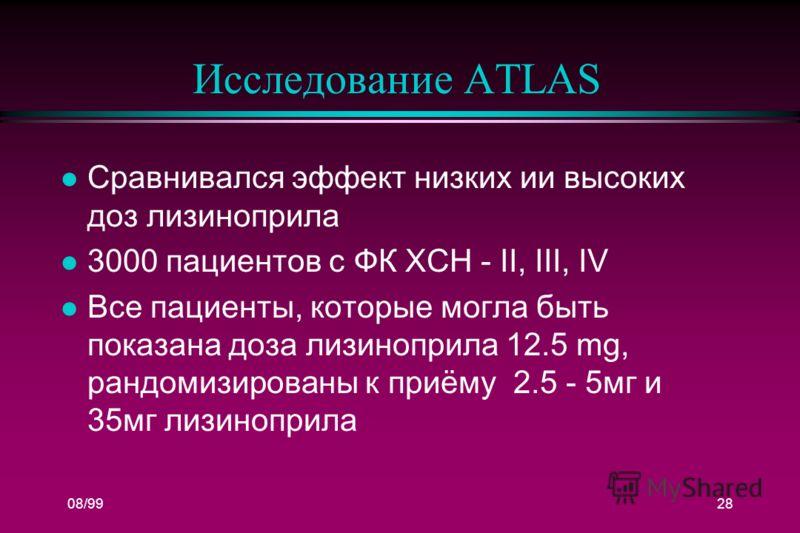 08/9928 Исследование ATLAS l Сравнивался эффект низких ии высоких доз лизиноприла l 3000 пациентов с ФК ХСН - II, III, IV l Все пациенты, которые могла быть показана доза лизиноприла 12.5 mg, рандомизированы к приёму 2.5 - 5мг и 35мг лизиноприла