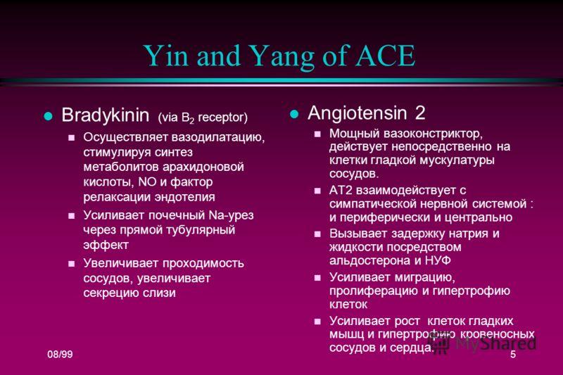 08/995 Yin and Yang of ACE l Bradykinin (via B 2 receptor) n Осуществляет вазодилатацию, стимулируя синтез метаболитов арахидоновой кислоты, NO и фактор релаксации эндотелия n Усиливает почечный Na-урез через прямой тубулярный эффект Увеличивает прох