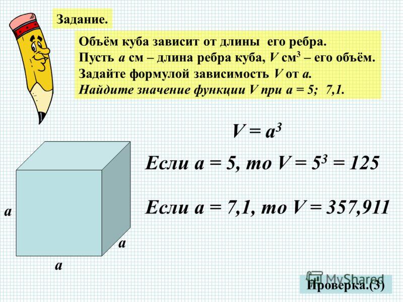 Задание. Объём куба зависит от длины его ребра. Пусть а см – длина ребра куба, V см 3 – его объём. Задайте формулой зависимость V от а. Найдите значение функции V при а = 5; 7,1. Проверка.(3) а а а V = а 3 Если а = 5, то V = 5 3 = 125 Если а = 7,1, т