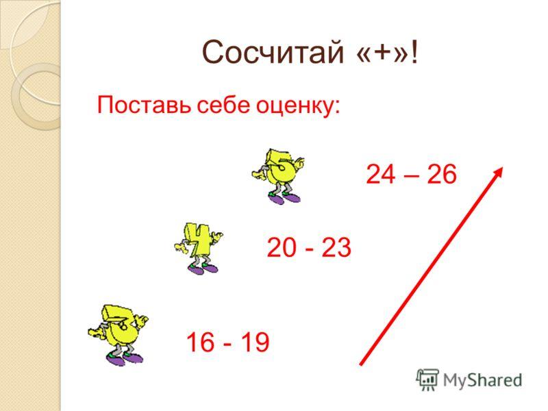 Сосчитай «+»! Поставь себе оценку: 24 – 26 20 - 23 16 - 19