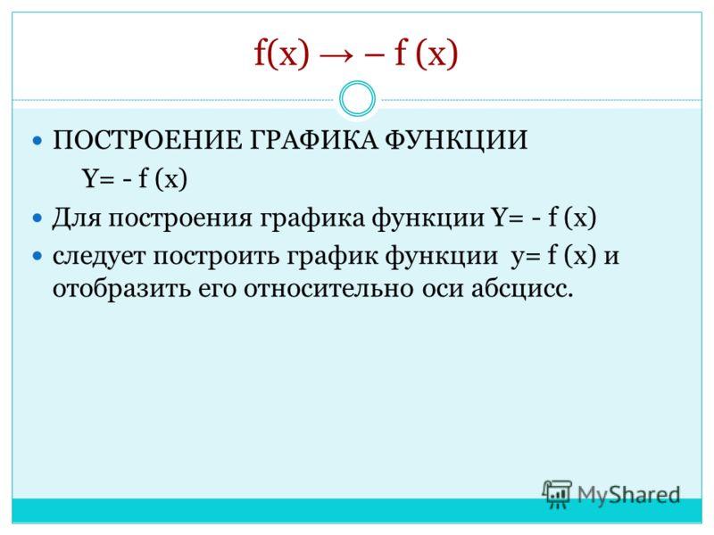 f(x) – f (x) ПОСТРОЕНИЕ ГРАФИКА ФУНКЦИИ Y= - f (x) Для построения графика функции Y= - f (x) следует построить график функции y= f (x) и отобразить его относительно оси абсцисс.