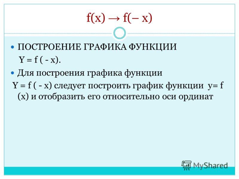 f(x) f(– x) ПОСТРОЕНИЕ ГРАФИКА ФУНКЦИИ Y = f ( - x). Для построения графика функции Y = f ( - x) следует построить график функции y= f (x) и отобразить его относительно оси ординат