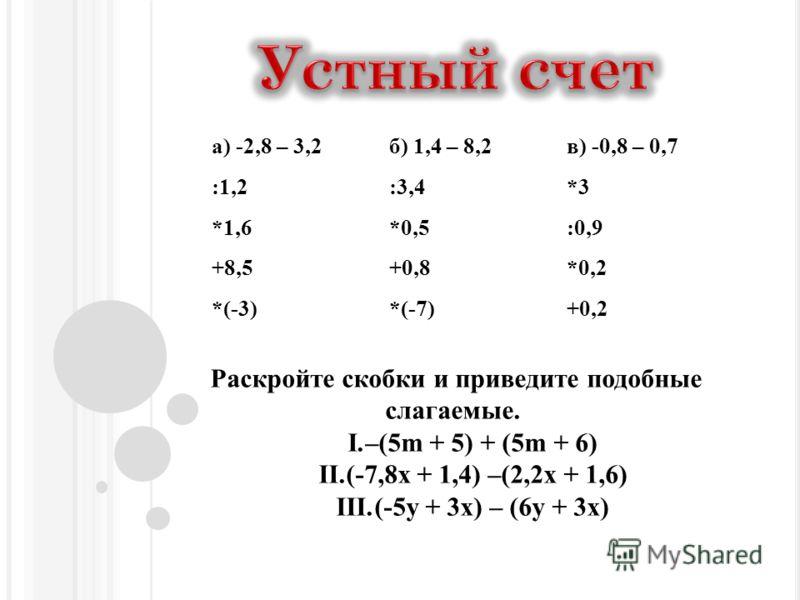 а) -2,8 – 3,2б) 1,4 – 8,2в) -0,8 – 0,7 :1,2:3,4*3 *1,6*0,5:0,9 +8,5+0,8*0,2 *(-3)*(-7)+0,2 Раскройте скобки и приведите подобные слагаемые. I.–(5m + 5) + (5m + 6) II.(-7,8x + 1,4) –(2,2x + 1,6) III.(-5y + 3x) – (6y + 3x)