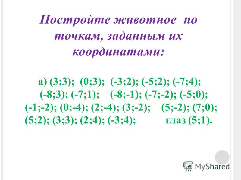 Постройте животное по точкам, заданным их координатами: а) (3;3); (0;3); (-3;2); (-5;2); (-7;4); (-8;3); (-7;1); (-8;-1); (-7;-2); (-5;0); (-1;-2); (0;-4); (2;-4); (3;-2); (5;-2); (7;0); (5;2); (3;3); (2;4); (-3;4); глаз (5;1).