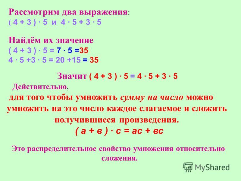 Рассмотрим два выражения : ( 4 + 3 ) · 5 и 4 · 5 + 3 · 5 Найдём их значение ( 4 + 3 ) · 5 = 7 · 5 =35 4 · 5 +3 · 5 = 20 +15 = 35 Значит ( 4 + 3 ) · 5 = 4 · 5 + 3 · 5 Действительно, для того чтобы умножить сумму на число можно умножить на это число ка