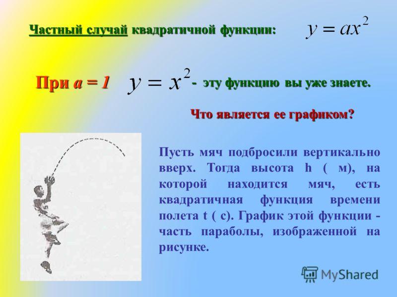 Частный случай квадратичной функции: При а = 1 - эту функцию вы уже знаете. Что является ее графиком? Пусть мяч подбросили вертикально вверх. Тогда высота h ( м), на которой находится мяч, есть квадратичная функция времени полета t ( с). График этой