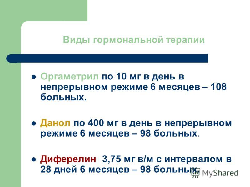 Виды гормональной терапии Оргаметрил по 10 мг в день в непрерывном режиме 6 месяцев – 108 больных. Данол по 400 мг в день в непрерывном режиме 6 месяцев – 98 больных. Диферелин 3,75 мг в/м с интервалом в 28 дней 6 месяцев – 98 больных.
