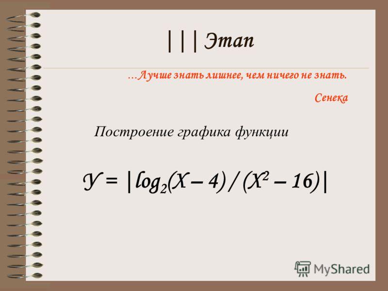 ||| Этап … Лучше знать лишнее, чем ничего не знать. Сенека Построение графика функции У = |log 2 (X – 4) / (X 2 – 16)|