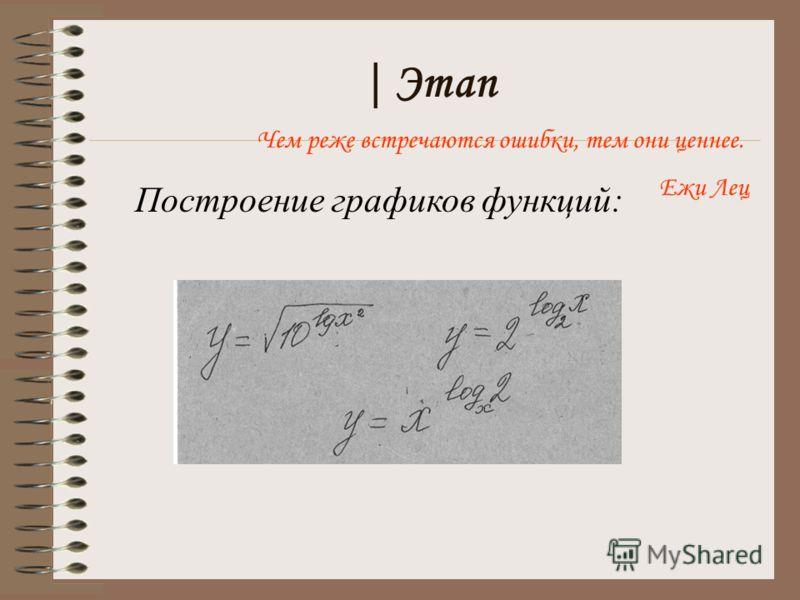 | Этап Построение графиков функций: Чем реже встречаются ошибки, тем они ценнее. Ежи Лец