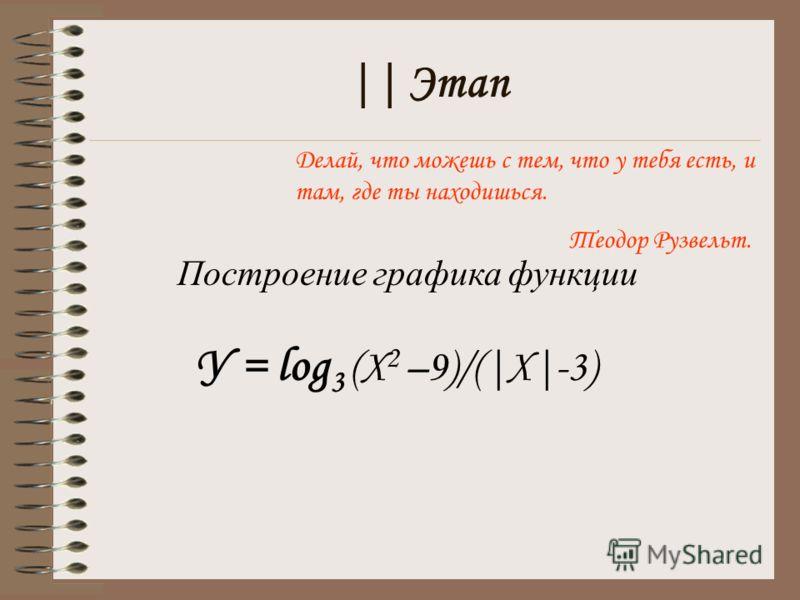 || Этап Делай, что можешь с тем, что у тебя есть, и там, где ты находишься. Теодор Рузвельт. Построение графика функции У = log 3 (X 2 –9)/(|Х|-3)