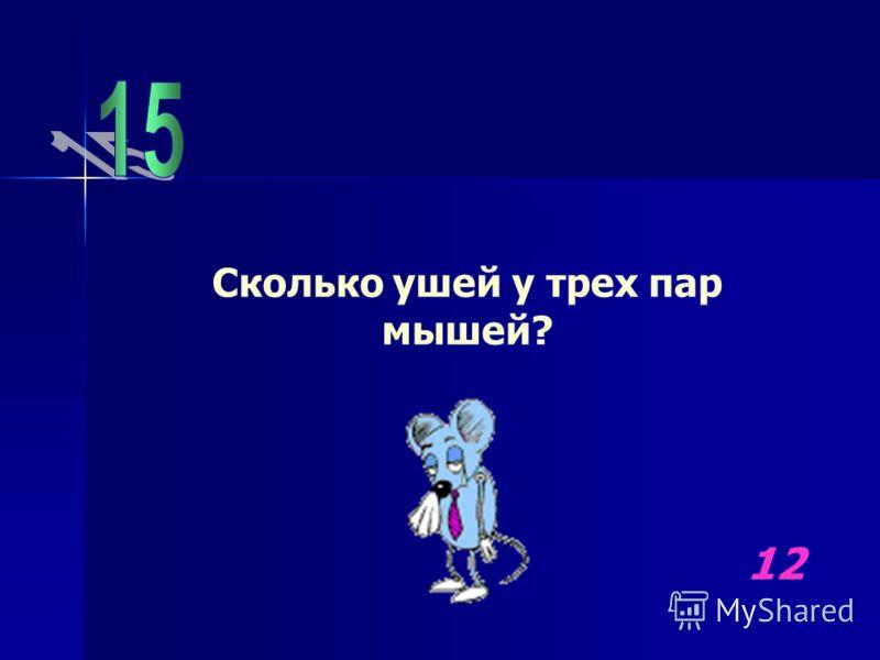 Сколько ушей у трех пар мышей? 12