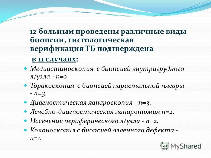 12 больным проведены различные виды биопсии, гистологическая верификация ТБ подтверждена в 11 случаях: Медиастиноскопия с биопсией внутригрудного л/узла - n=2 Торакоскопия с биопсией париетальной плевры - n=3. Диагностическая лапароскопия - n=3. Лече