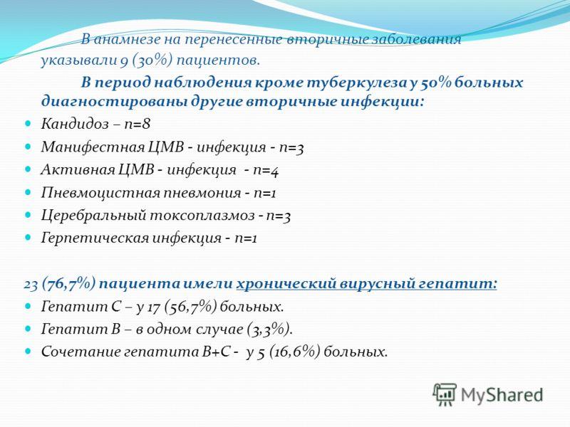 В анамнезе на перенесенные вторичные заболевания указывали 9 (30%) пациентов. В период наблюдения кроме туберкулеза у 50% больных диагностированы другие вторичные инфекции: Кандидоз – n=8 Манифестная ЦМВ - инфекция - n=3 Активная ЦМВ - инфекция - n=4