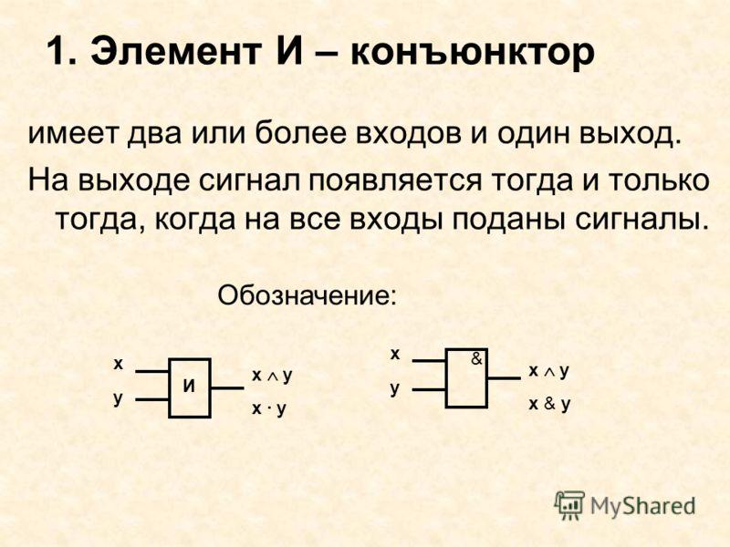 1. Элемент И – конъюнктор имеет два или более входов и один выход. На выходе сигнал появляется тогда и только тогда, когда на все входы поданы сигналы. х у х у х & у & х у х · у х у И Обозначение: