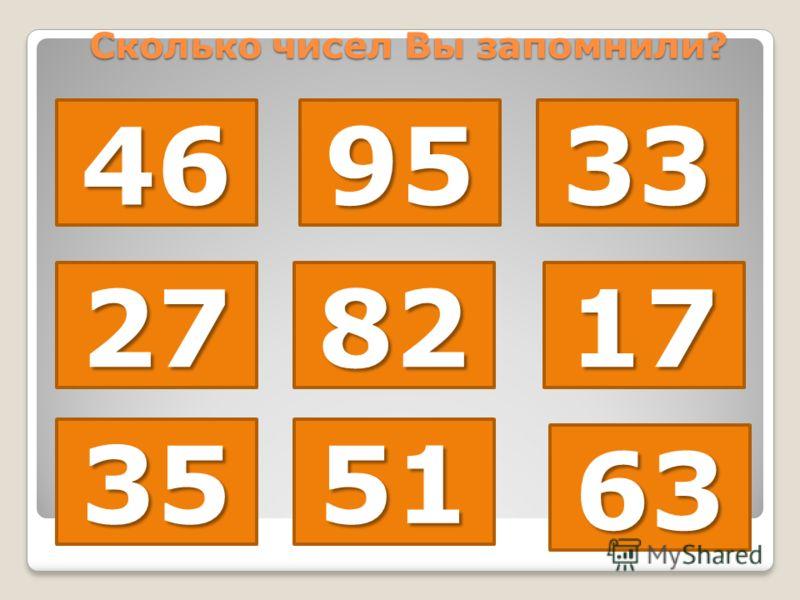 469533 278217 3551 63 Сколько чисел Вы запомнили?