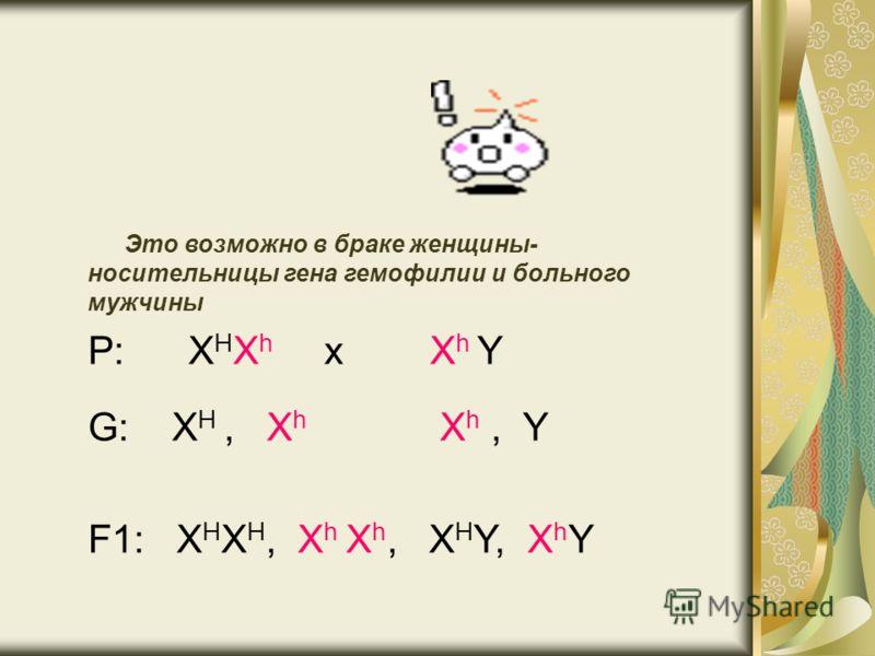 Это возможно в браке женщины- носительницы гена гемофилии и больного мужчины Р: Х H Х h х Х h Y G: Х H, Х h Х h, Y F1: X H X H, Х h X h, X H Y, X h Y