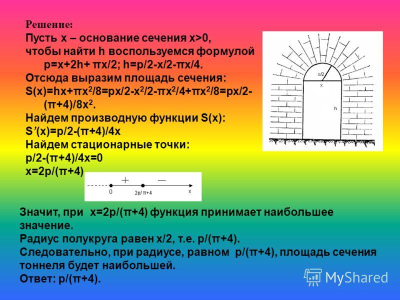 Сечение тоннеля имеет форму прямоугольника, сверху завершенного полукругом. Определить радиус полукруга, при котором площадь сечения будет наибольшей, если периметр сечения равен p.