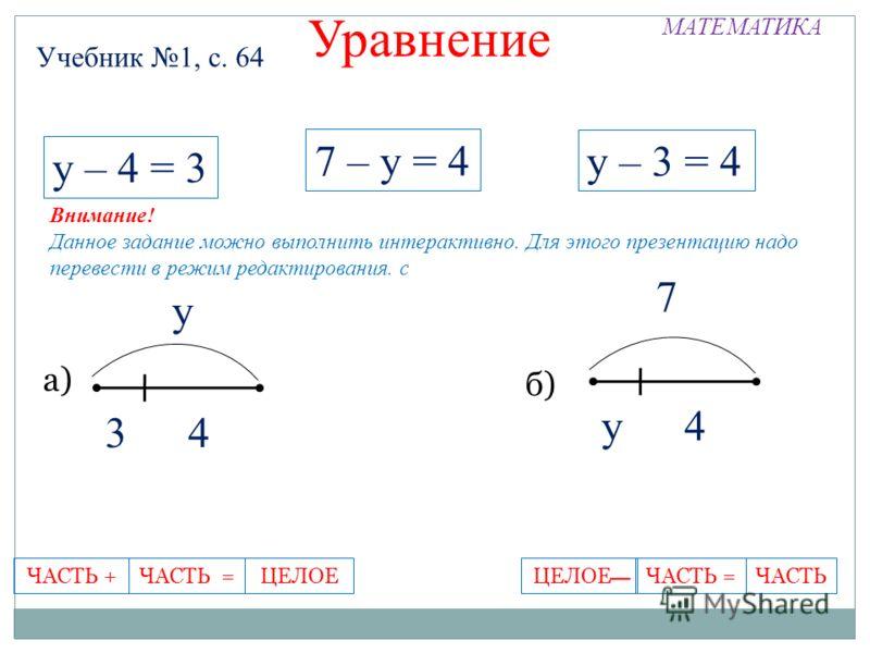 МАТЕМАТИКА Учебник 1, с. 64 Уравнение 7 – у = 4 у – 3 = 4 34 у у4 7 у – 4 = 3 а) б) ЧАСТЬ =ЧАСТЬ +ЦЕЛОЕЦЕЛОЕ -ЧАСТЬЧАСТЬ = Внимание! Данное задание можно выполнить интерактивно. Для этого презентацию надо перевести в режим редактирования. с