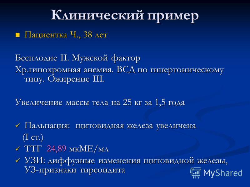 Клинический пример Пациентка Ч., 38 лет Пациентка Ч., 38 лет Бесплодие II. Мужской фактор Хр.гипохромная анемия. ВСД по гипертоническому типу. Ожирение III. Увеличение массы тела на 25 кг за 1,5 года Пальпация: щитовидная железа увеличена Пальпация: