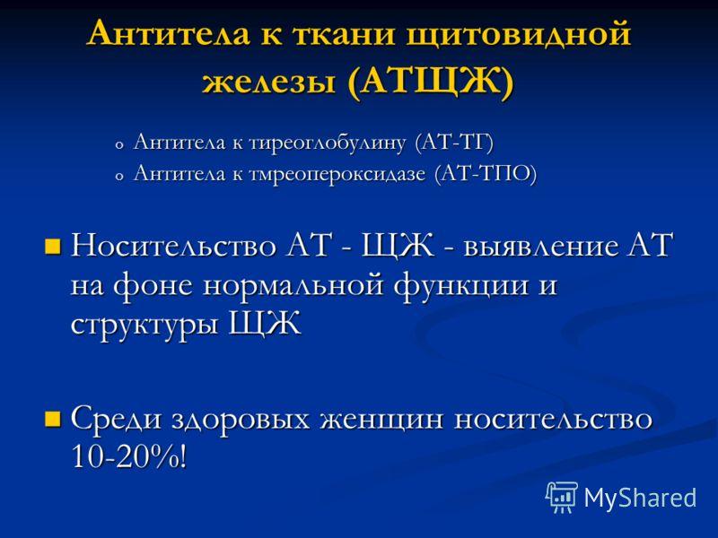Антитела к ткани щитовидной железы (АТЩЖ) o Антитела к тиреоглобулину (АТ-ТГ) o Антитела к тмреопероксидазе (АТ-ТПО) Носительство АТ - ЩЖ - выявление АТ на фоне нормальной функции и структуры ЩЖ Носительство АТ - ЩЖ - выявление АТ на фоне нормальной