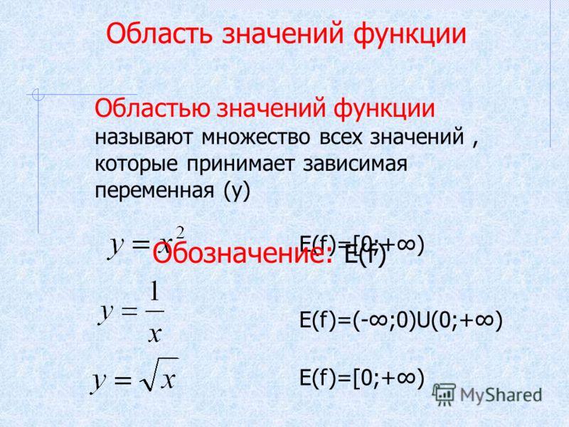 Область значений функции Областью значений функции называют множество всех значений, которые принимает зависимая переменная (у) E(f)=[0;+) E(f)=(-;0)U(0;+) E(f)=[0;+) Обозначение: Е(f)