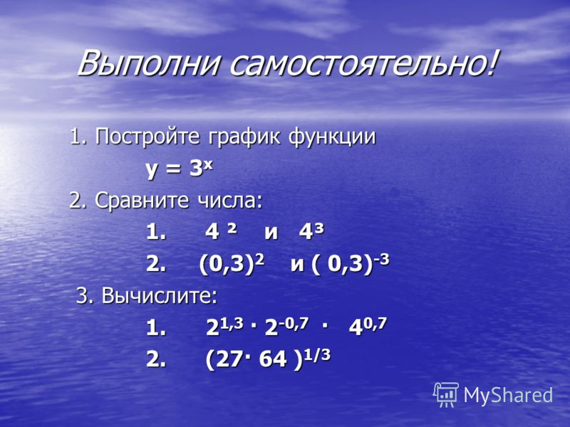 Выполни самостоятельно! 1. Постройте график функции 1. Постройте график функции у = 3 х у = 3 х 2. Сравните числа: 2. Сравните числа: 1. 4 ² и 4³ 1. 4 ² и 4³ 2. (0,3) 2 и ( 0,3) -3 2. (0,3) 2 и ( 0,3) -3 3. Вычислите: 3. Вычислите: 1. 2 1,3 · 2 -0,7