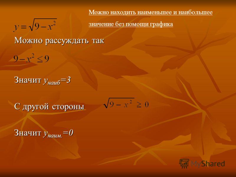 Можно рассуждать так Значит y наиб =3 С другой стороны Значит у наим. =0 Можно находить наименьшее и наибольшее значение без помощи графика
