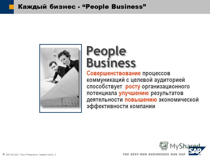 SAP AG 2003, Title of Presentation, Speaker Name / 2 Каждый бизнес - People Business Совершенствование процессов коммуникаций с целевой аудиторией способствует росту организационного потенциала улучшению результатов деятельности повышению экономическ