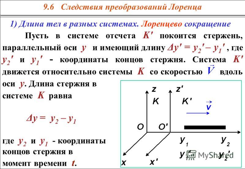9.6 Следствия преобразований Лоренца 1) Длина тел в разных системах. Лоренцево сокращение Пусть в системе отсчета K' покоится стержень, параллельный оси у и имеющий длину Δу' = у 2 ' – у 1 ', где у 2 ' и у 1 ' - координаты концов стержня. Система K'