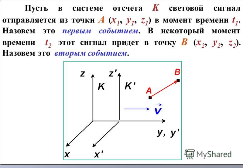 Пусть в системе отсчета K световой сигнал отправляется из точки А ( x 1, y 1, z 1 ) в момент времени t 1. Назовем это первым событием. В некоторый момент времени t 2 этот сигнал придет в точку В ( x 2, y 2, z 2 ). Назовем это вторым событием. Пусть в