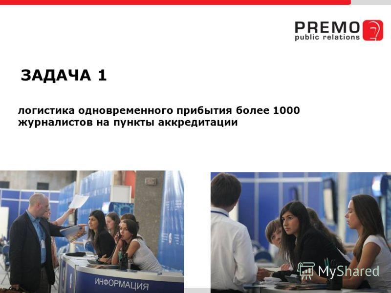 логистика одновременного прибытия более 1000 журналистов на пункты аккредитации ЗАДАЧА 1