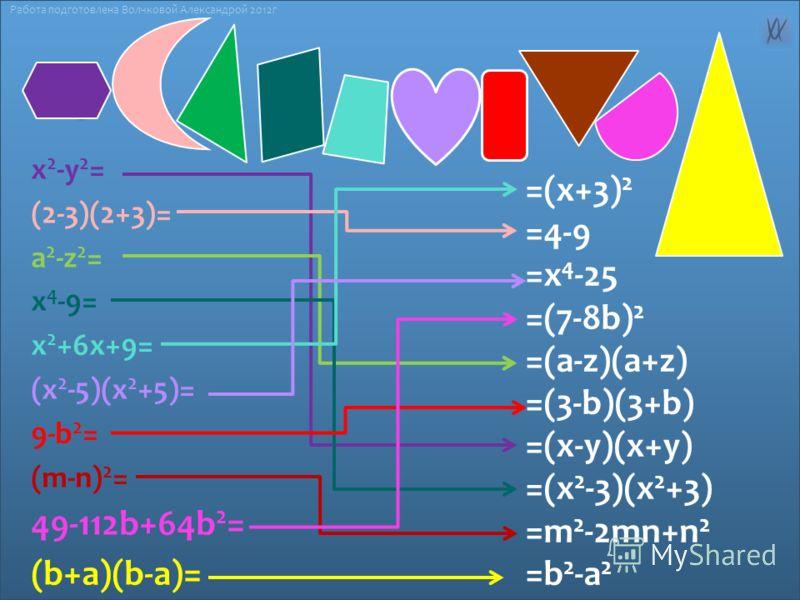 x 2 -y 2 = (2-3)(2+3)= а 2 -z 2 = x 4 -9= x 2 +6x+9= (х 2 -5)(х 2 +5)= 9-b 2 = (m-n) 2 = 49-112b+64b 2 = (b+a)(b-a)= =(x+3) 2 =4-9 =х 4 -25 =(7-8b) 2 =(a-z)(a+z) =(3-b)(3+b) =(х-у)(х+у) =(x 2 -3)(x 2 +3) =m 2 -2mn+n 2 =b 2 -a 2 Работа подготовлена Во