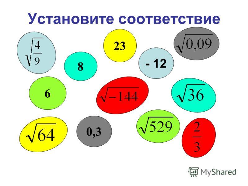Установите соответствие 6 - 12 0,3 23 8