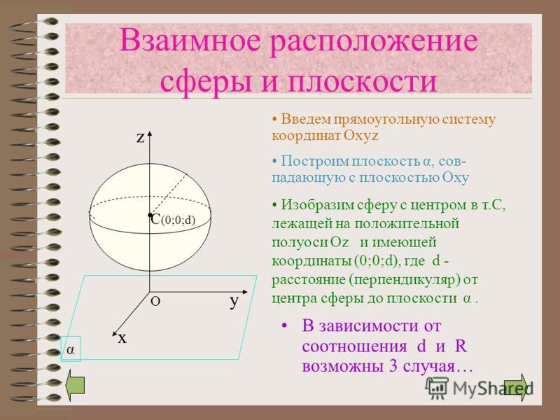 α C (0;0;d) Взаимное расположение сферы и плоскости В зависимости от соотношения d и R возможны 3 случая… х у z O Введем прямоугольную систему координат Oxyz Построим плоскость α, сов- падающую с плоскостью Оху Изобразим сферу с центром в т.С, лежаще