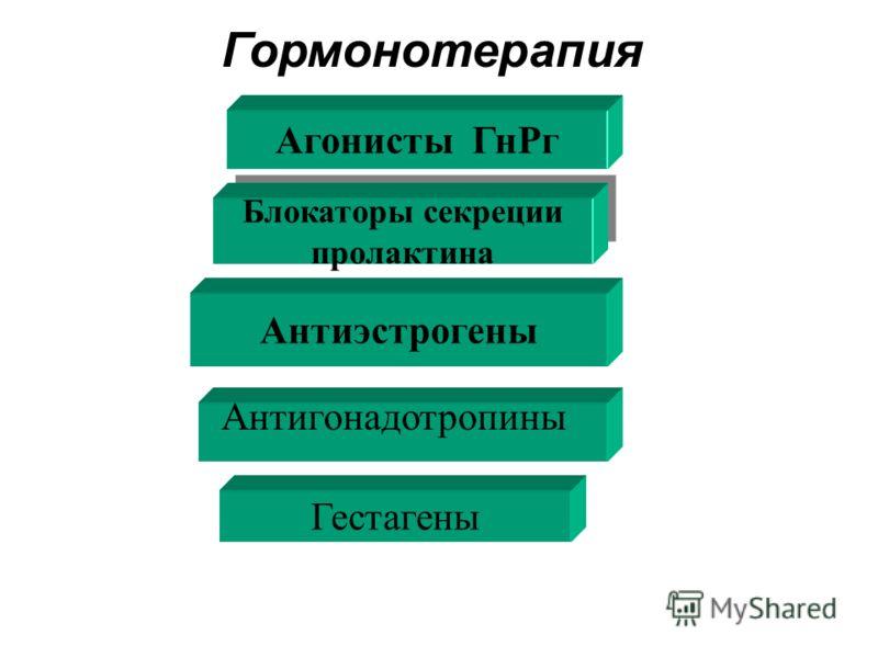 Агонисты ГнРг Блокаторы секреции пролактина Блокаторы секреции пролактина Антиэстрогены Антигонадотропины Гестагены Гормонотерапия