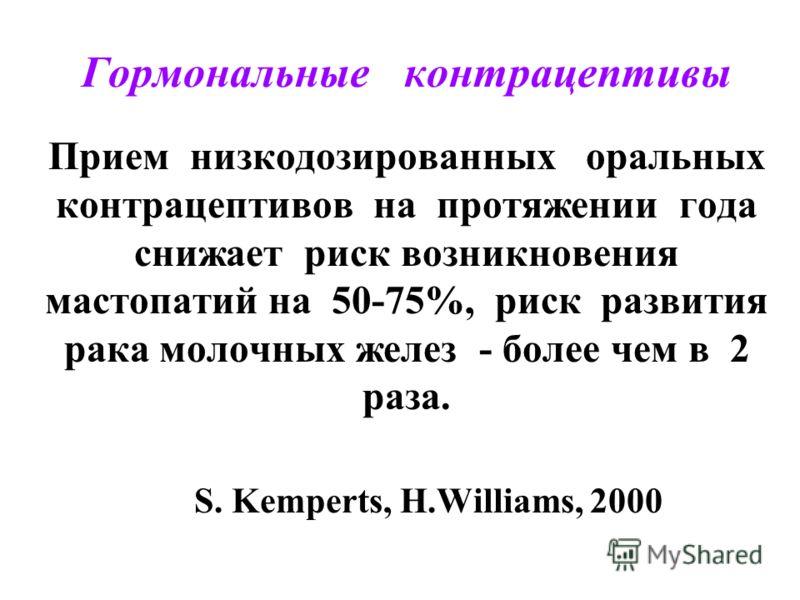 Гормональные контрацептивы Прием низкодозированных оральных контрацептивов на протяжении года снижает риск возникновения мастопатий на 50-75%, риск развития рака молочных желез - более чем в 2 раза. S. Kemperts, H.Williams, 2000