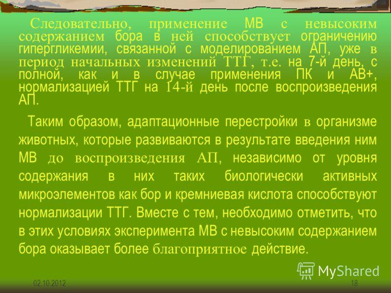 19.07.201218 Следовательно, применение МВ с невысоким содержанием бора в ней способствует ограничению гипергликемии, связанной с моделированием АП, уже в период начальных изменений ТТГ, т.е. на 7-й день, с полной, как и в случае применения ПК и АВ+,