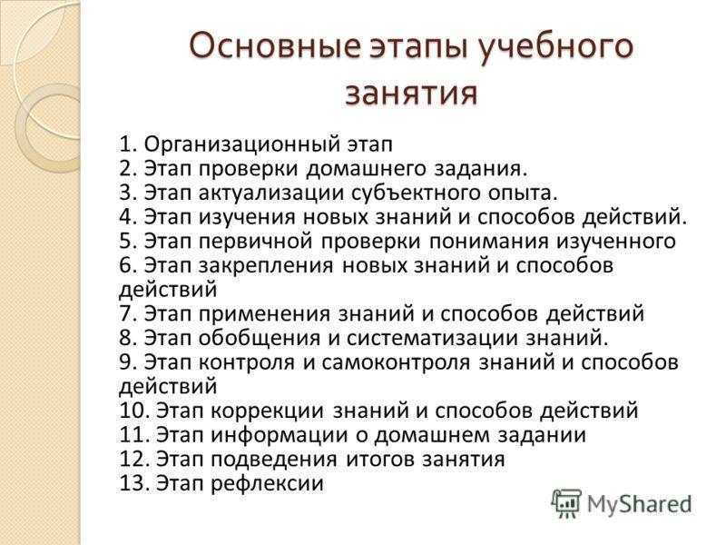 Основные этапы учебного занятия 1. Организационный этап 2. Этап проверки домашнего задания. 3. Этап актуализации субъектного опыта. 4. Этап изучения новых знаний и способов действий. 5. Этап первичной проверки понимания изученного 6. Этап закрепления