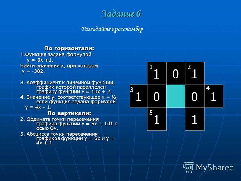 Задание 6 По горизонтали: 1.Функция задана формулой у =-3х +1. у =-3х +1. Найти значение х, при котором у = -302. у = -302. 3. Коэффициент k линейной функции, график которой параллелен графику функции у = 10х + 2. 4. Значение у, соответствующее х = ½
