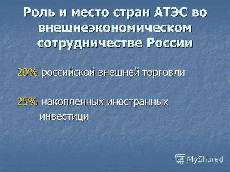 Роль и место стран АТЭС во внешнеэкономическом сотрудничестве России 20% российской внешней торговли 20% российской внешней торговли 25% накопленных иностранных 25% накопленных иностранных инвестици инвестици