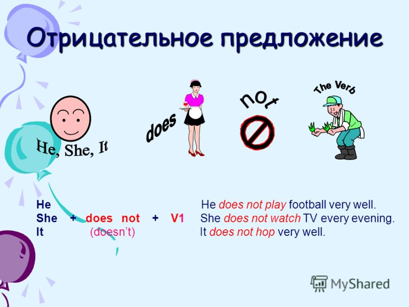 Отрицательное предложение He He does not play football very well. She + does not + V1 She does not watch TV every evening. It (doesnt) It does not hop very well.