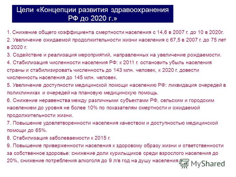 Цели «Концепции развития здравоохранения РФ до 2020 г.» 1. Снижение общего коэффициента смертности населения с 14,6 в 2007 г. до 10 в 2020г. 2. Увеличение ожидаемой продолжительности жизни населения с 67,5 в 2007 г. до 75 лет в 2020 г. 3. Содействие