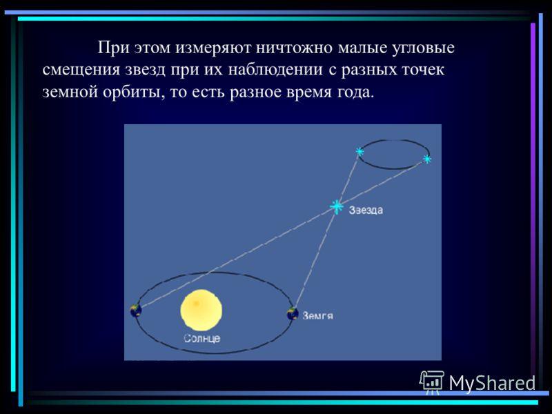 При этом измеряют ничтожно малые угловые смещения звезд при их наблюдении с разных точек земной орбиты, то есть разное время года.